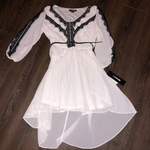NWT MyMichelle dress sheer white and black lace